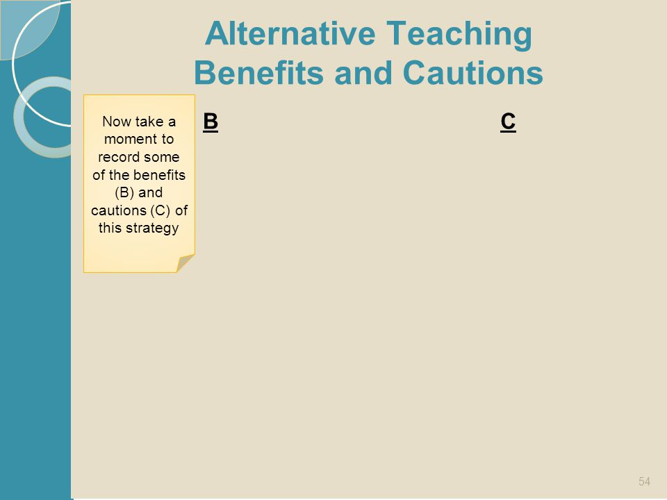 Alternative Teaching Benefits and Cautions