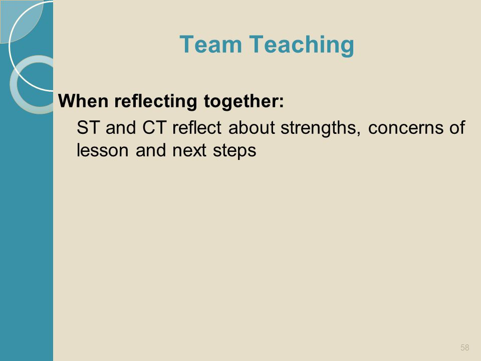 Team Teaching When reflecting together: