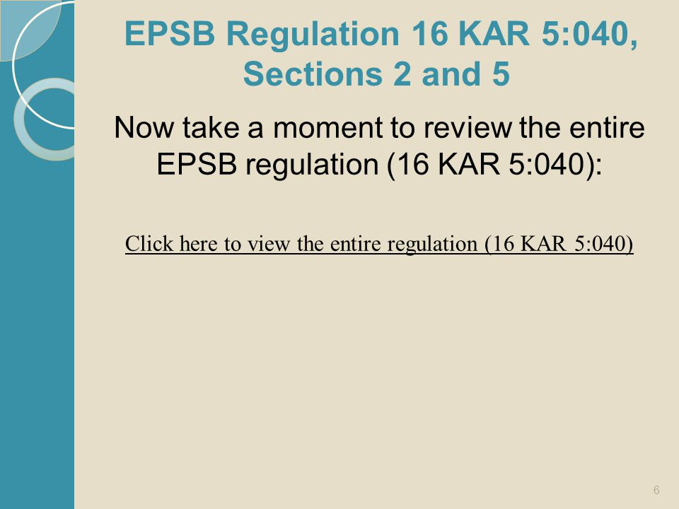 EPSB Regulation 16 KAR 5:040, Sections 2 and 5