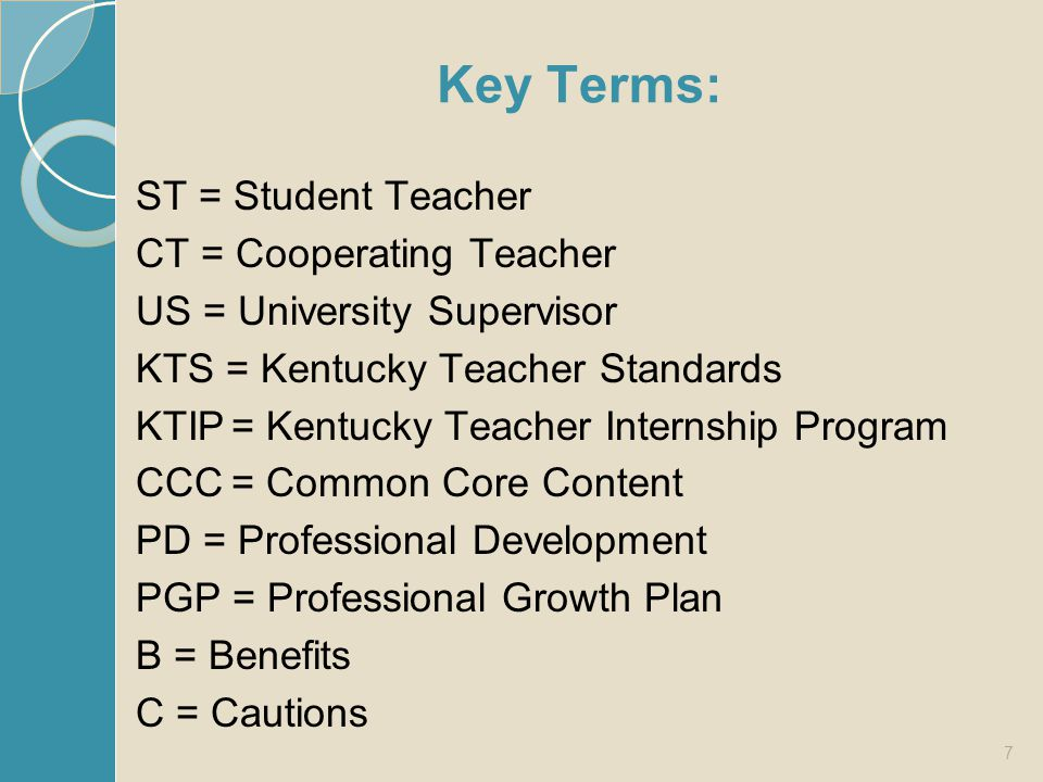 Key Terms: ST = Student Teacher CT = Cooperating Teacher