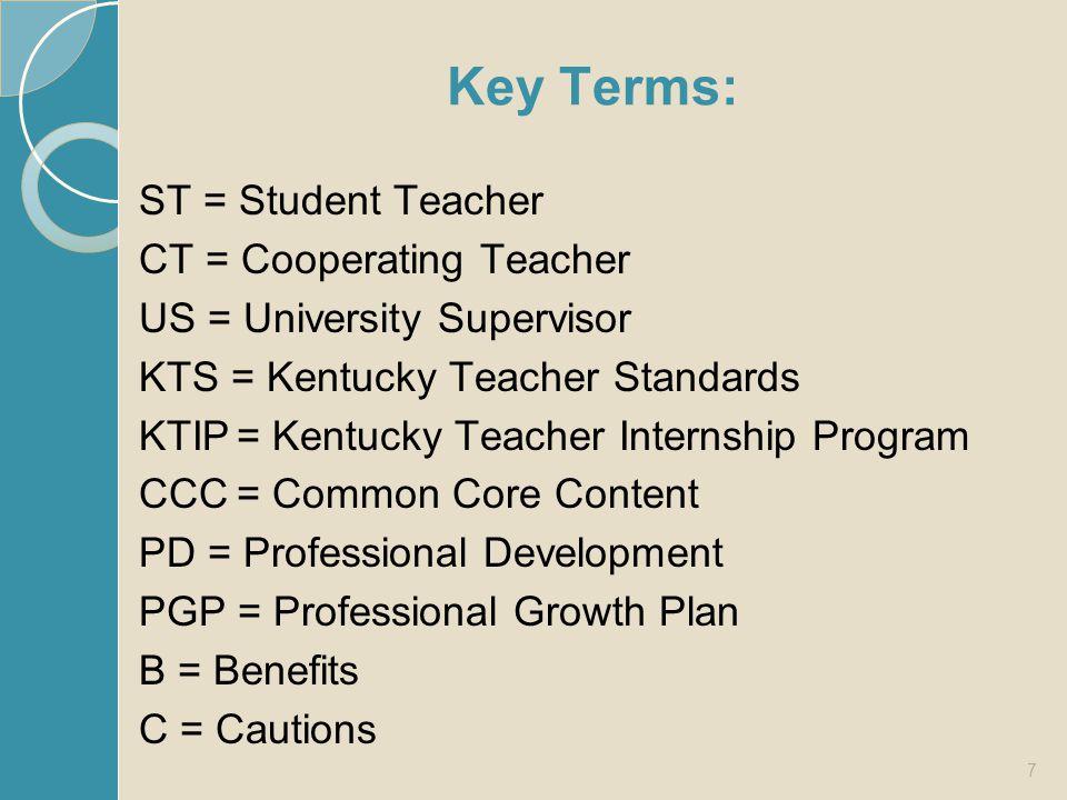 Key Terms: ST = Student Teacher CT = Cooperating Teacher