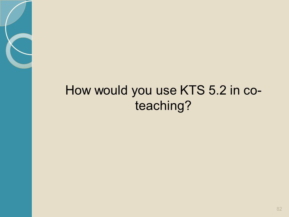 How would you use KTS 5.2 in co- teaching