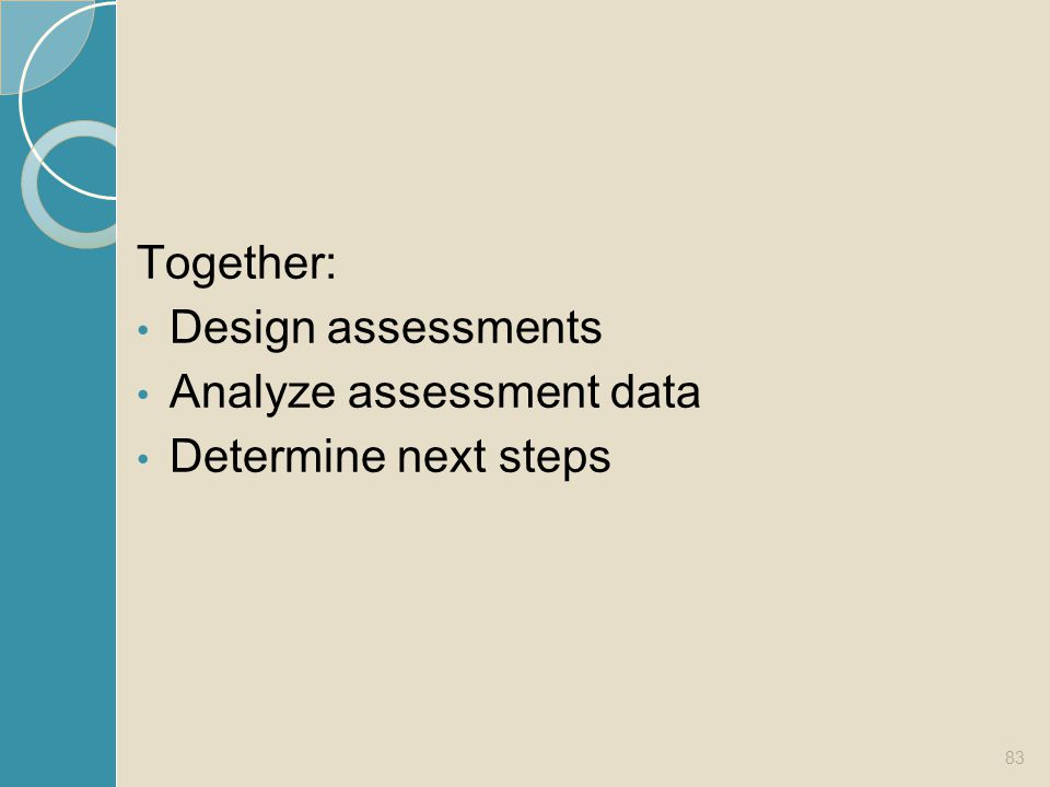 Together: Design assessments Analyze assessment data Determine next steps