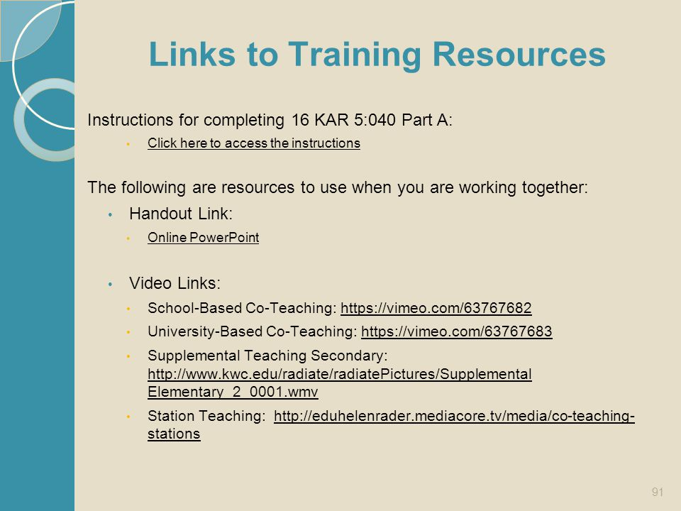 Links to Training Resources