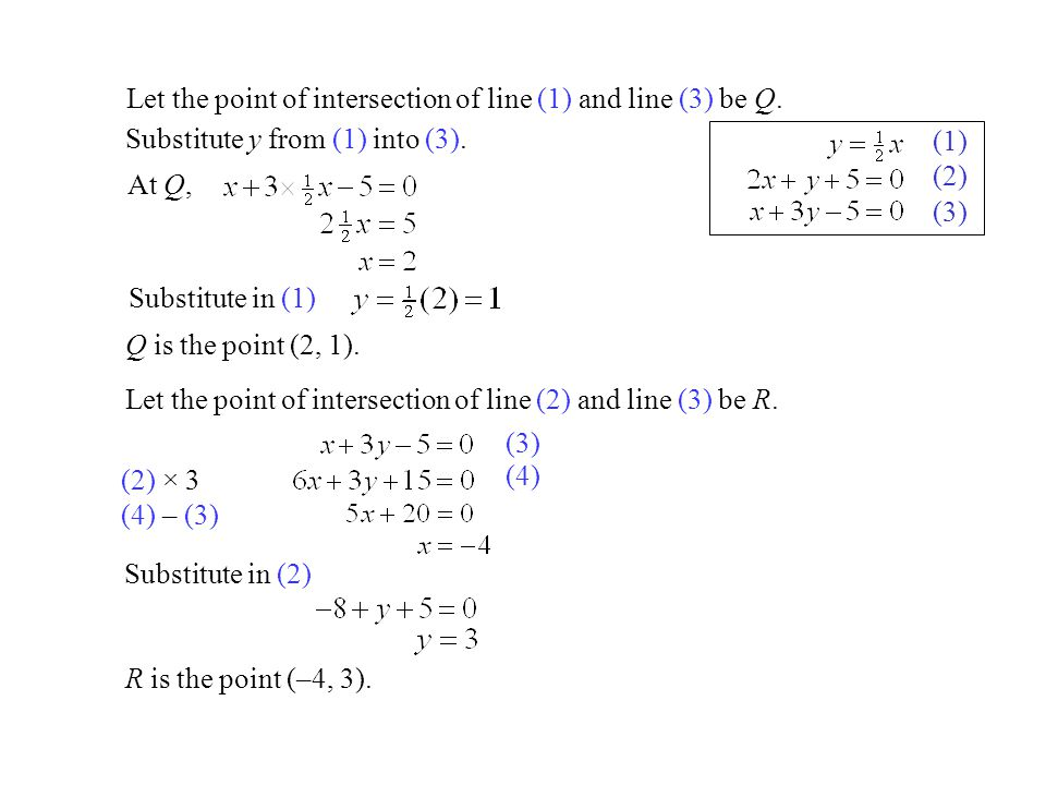 Let the point of intersection of line (1) and line (3) be Q.