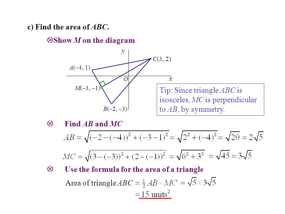  Use the formula for the area of a triangle
