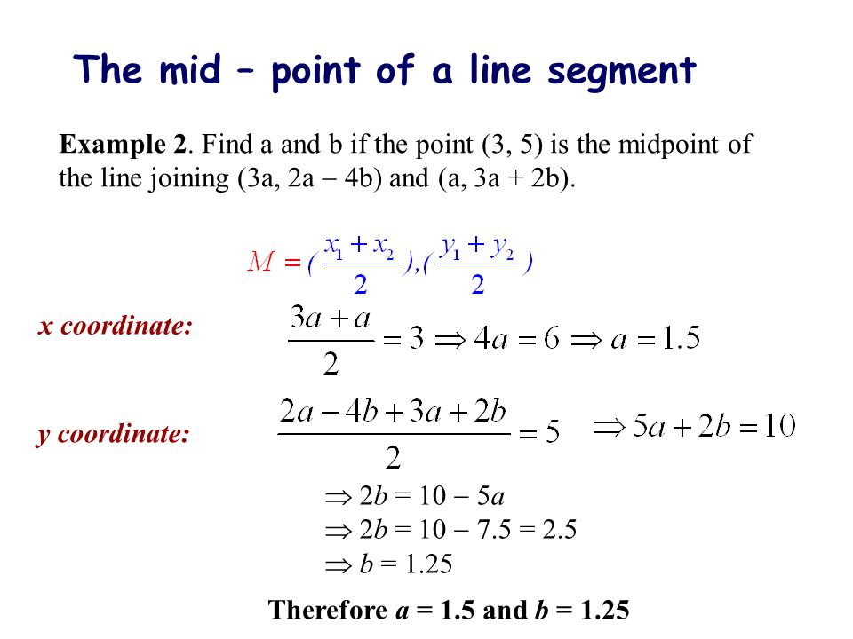 The mid – point of a line segment
