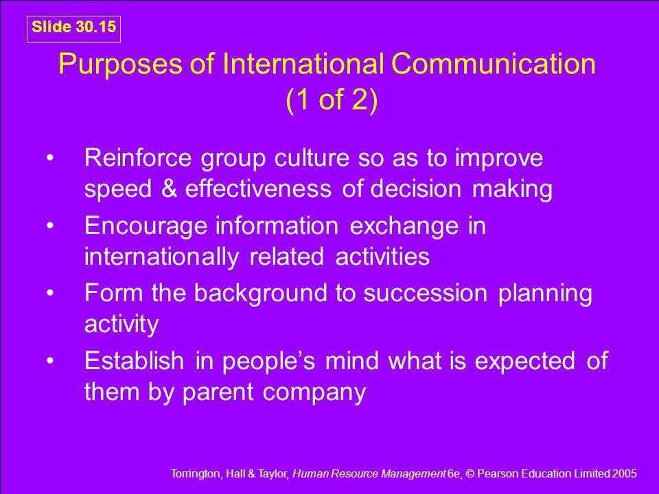Purposes of International Communication (1 of 2)