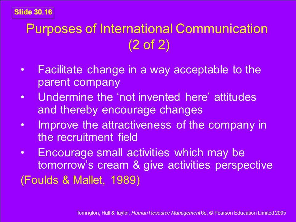 Purposes of International Communication (2 of 2)