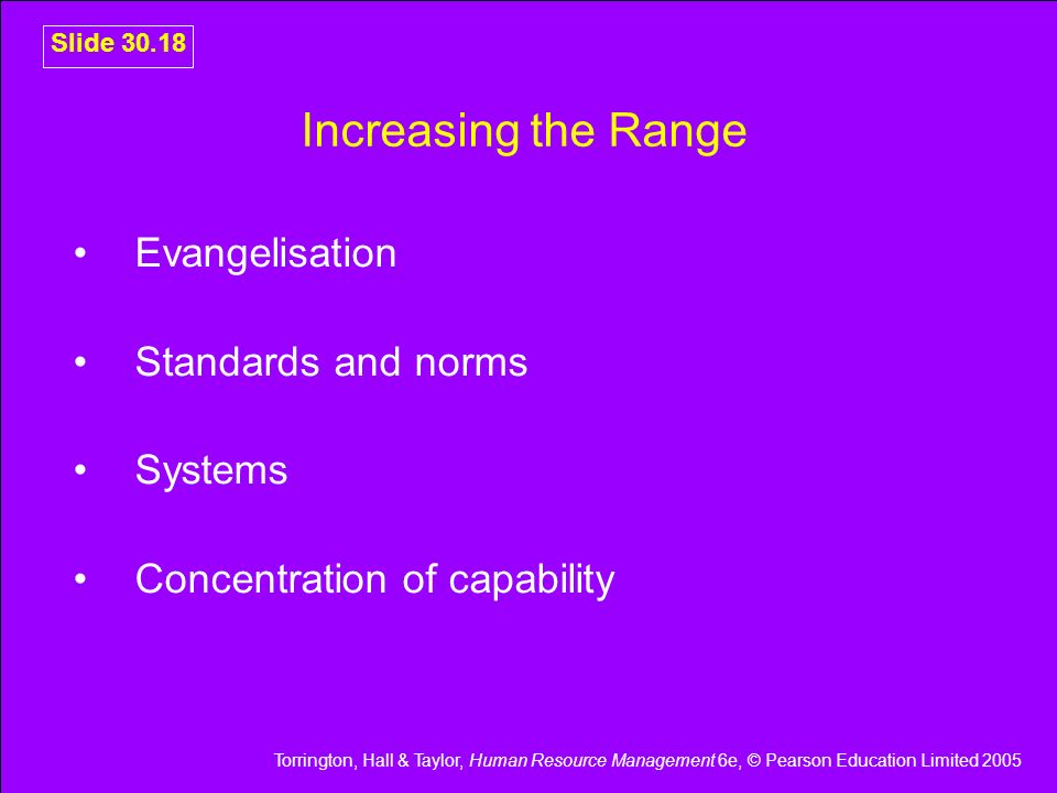 Increasing the Range Evangelisation Standards and norms Systems