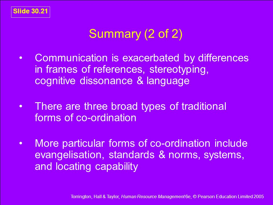 Slide 30.21 Summary (2 of 2) Communication is exacerbated by differences in frames of references, stereotyping, cognitive dissonance & language.
