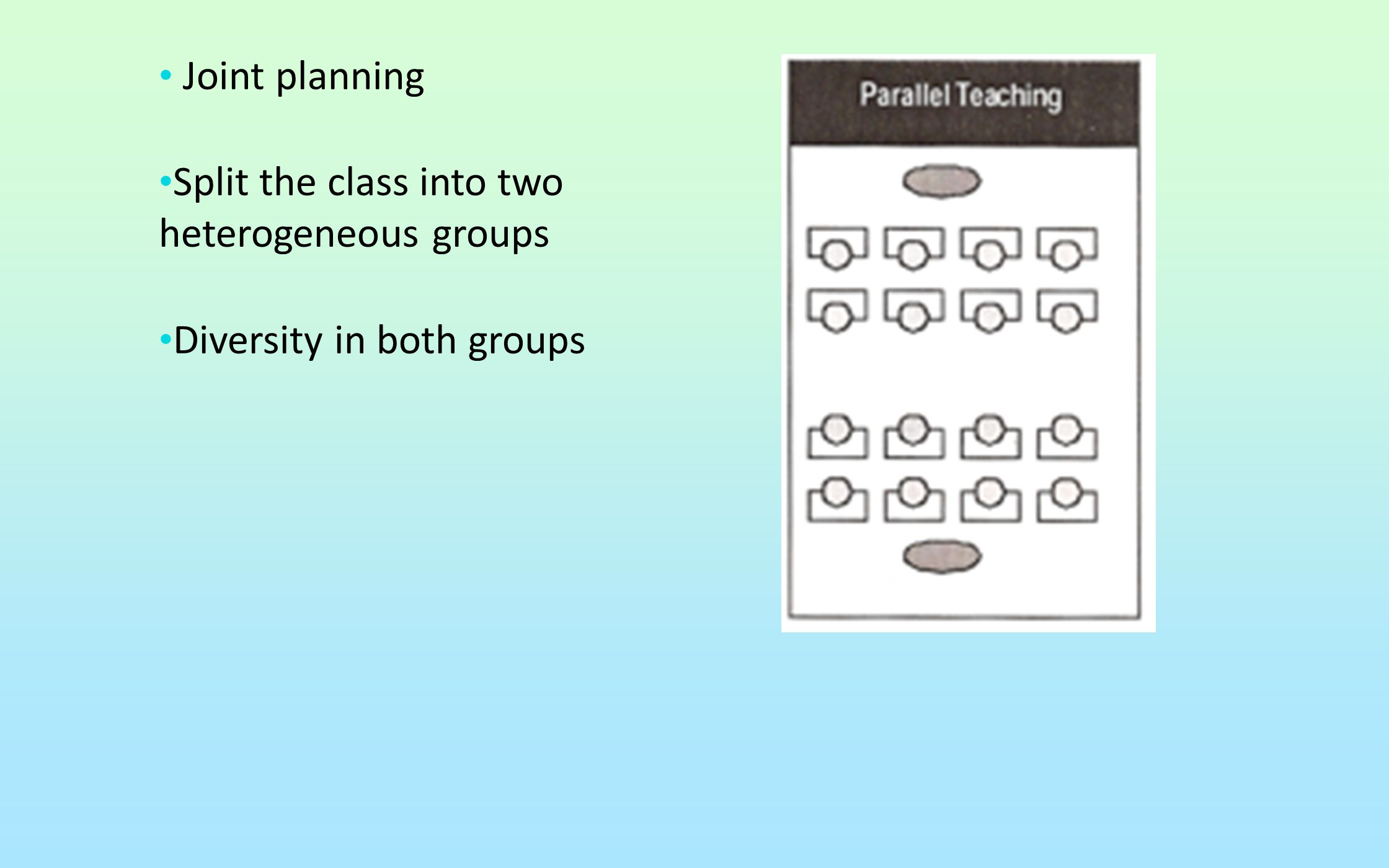 Split the class into two heterogeneous groups