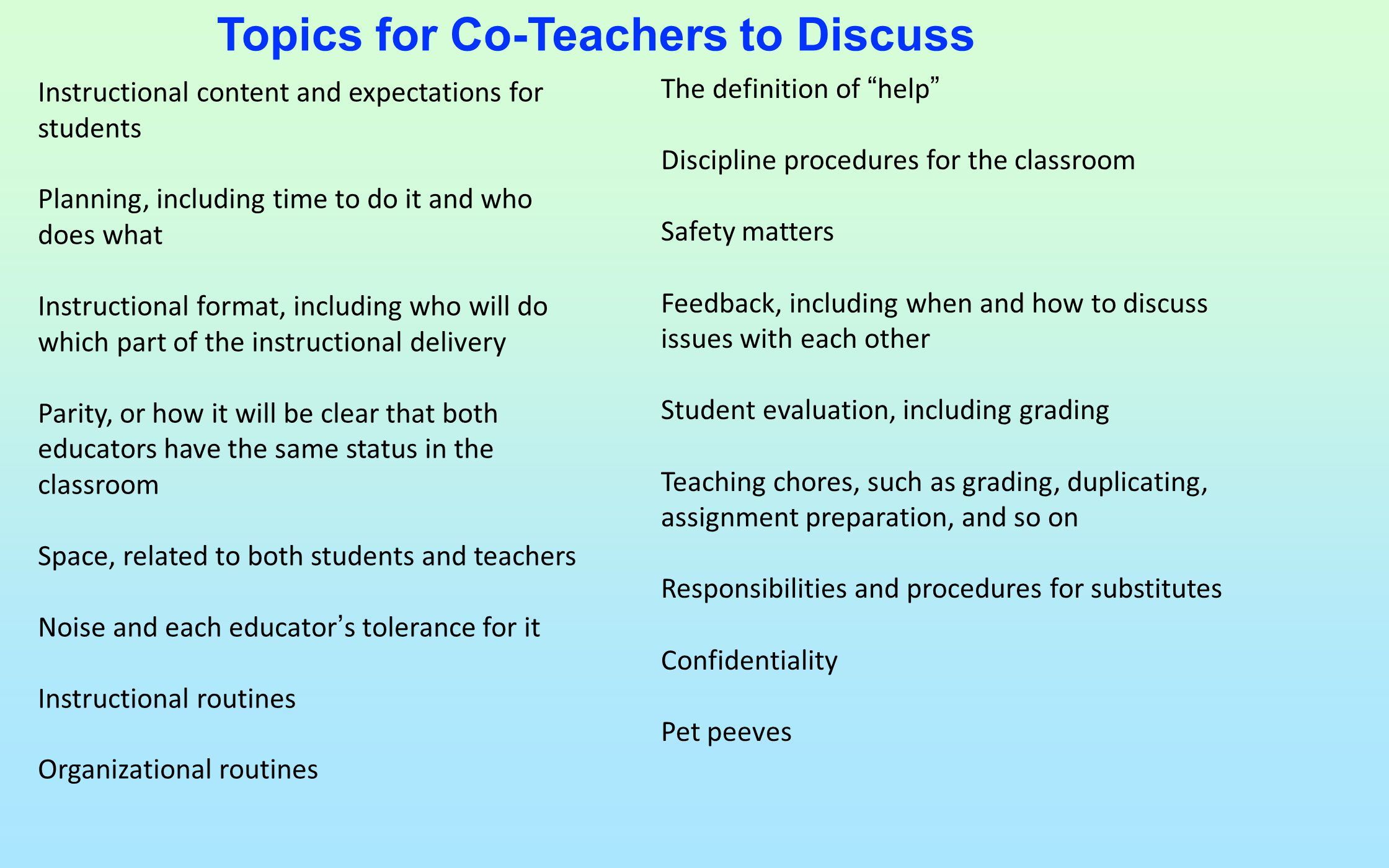 Topics for Co-Teachers to Discuss