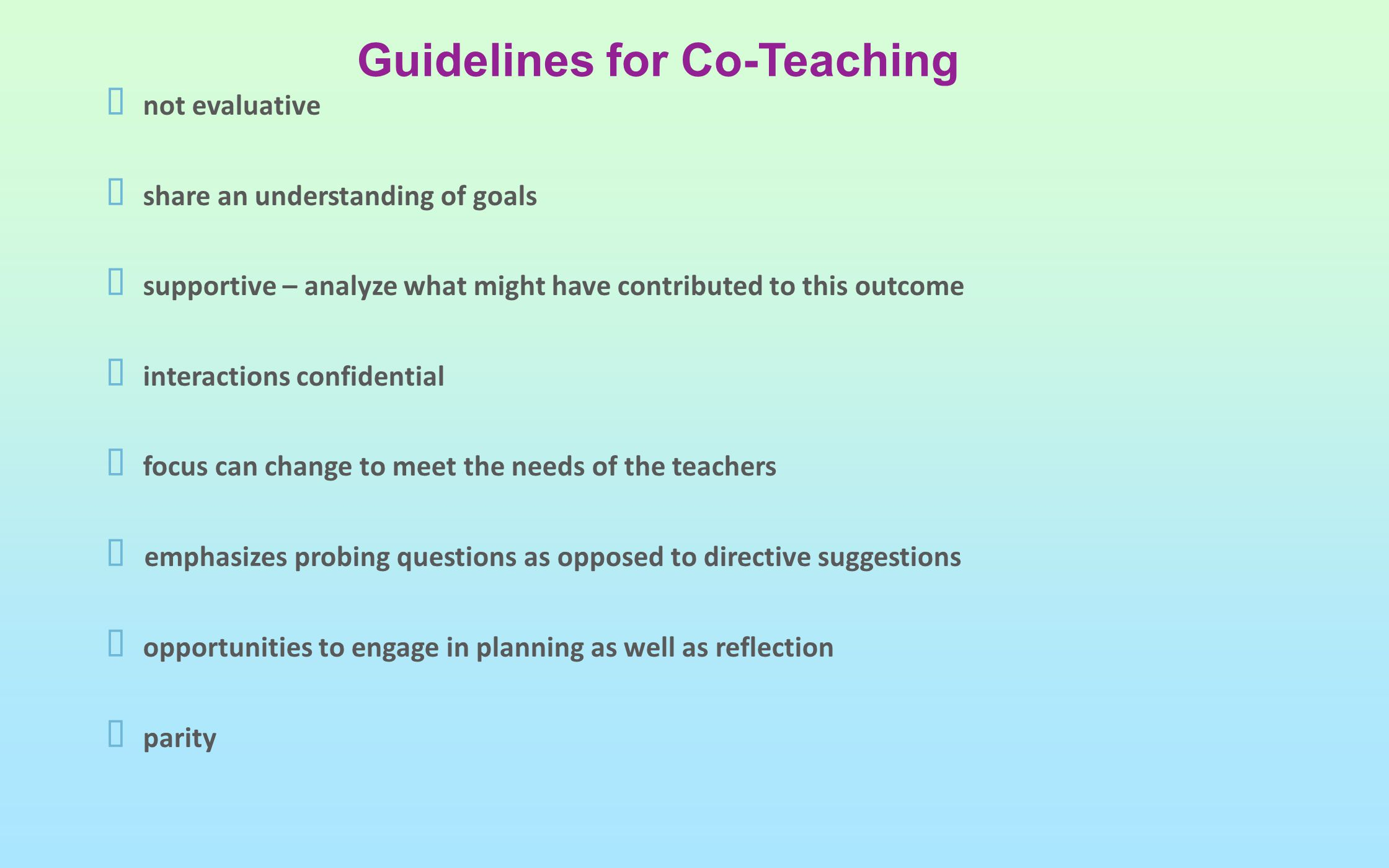 Guidelines for Co-Teaching