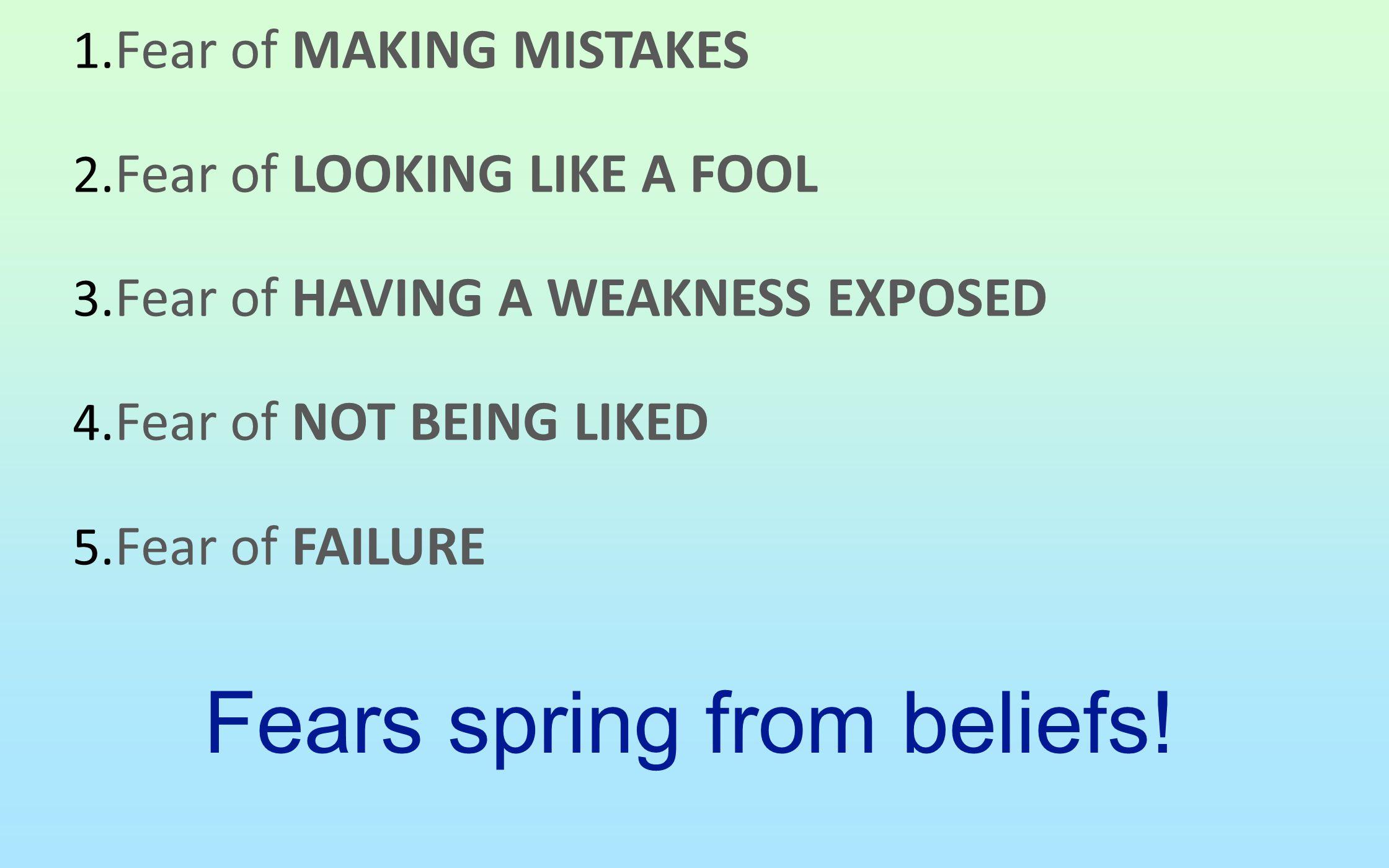 Fears spring from beliefs!