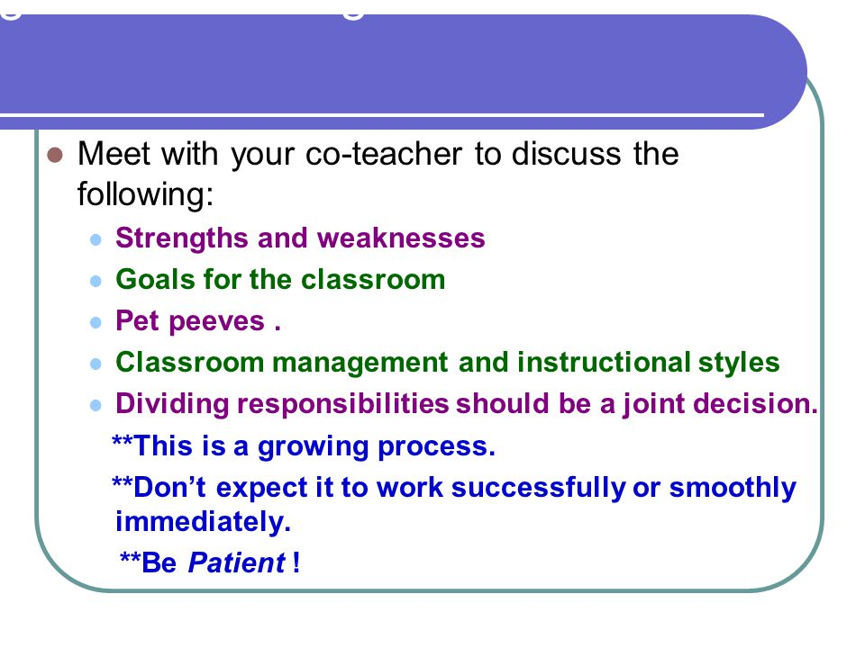 Before You Begin Co-Teaching