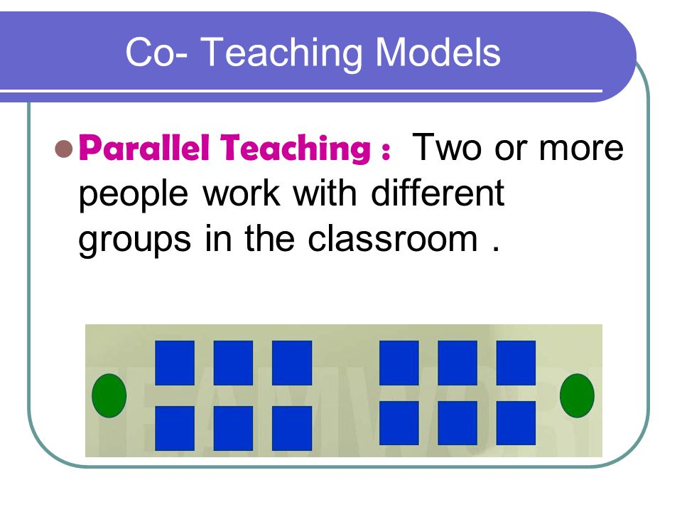 Co- Teaching Models Parallel Teaching : Two or more people work with different groups in the classroom .