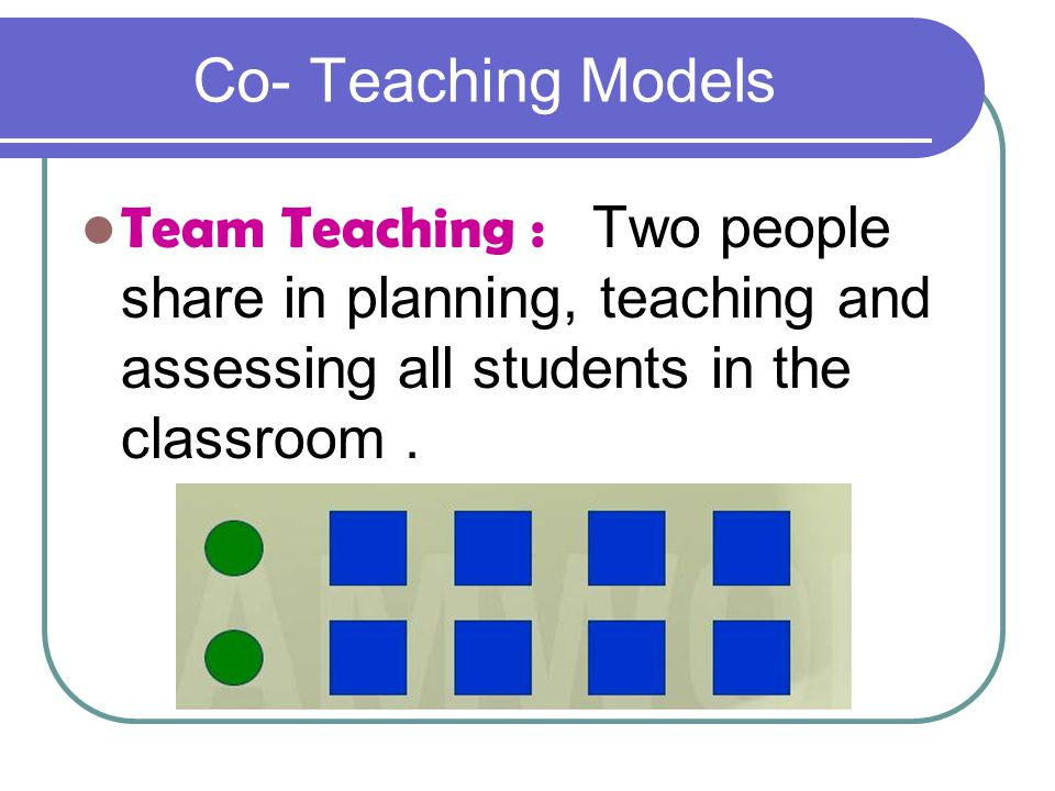 Co- Teaching Models Team Teaching : Two people share in planning, teaching and assessing all students in the classroom .