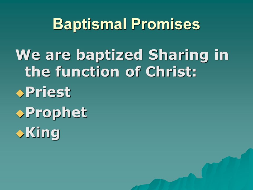 Baptismal Promises We are baptized Sharing in the function of Christ: