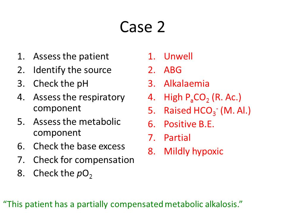Case 2 Assess the patient Identify the source Check the pH