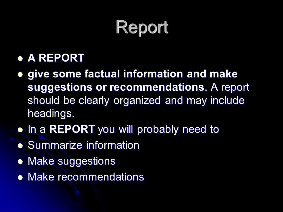 Report A REPORT.