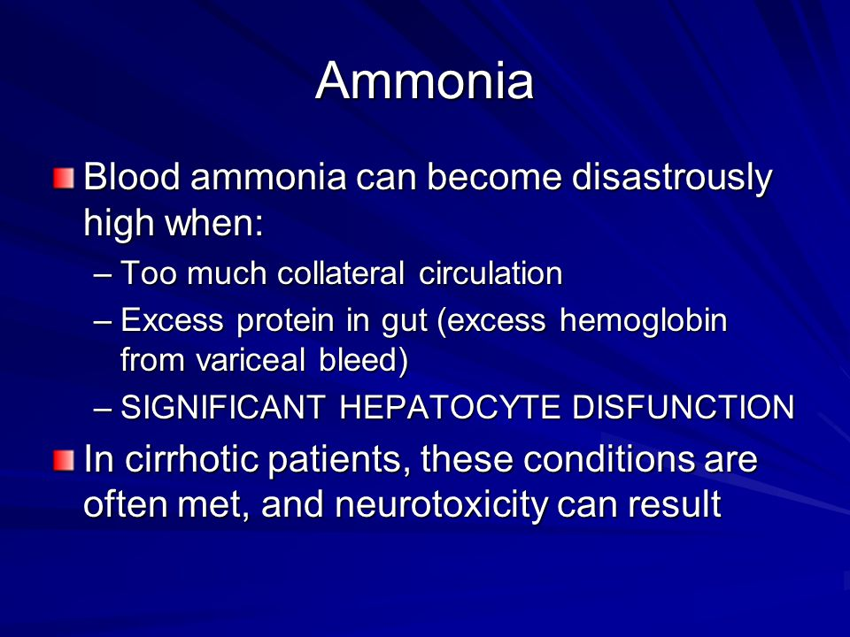 Ammonia Blood ammonia can become disastrously high when:
