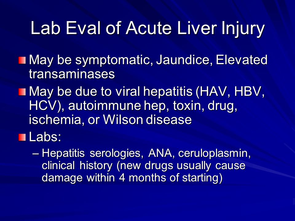 Lab Eval of Acute Liver Injury