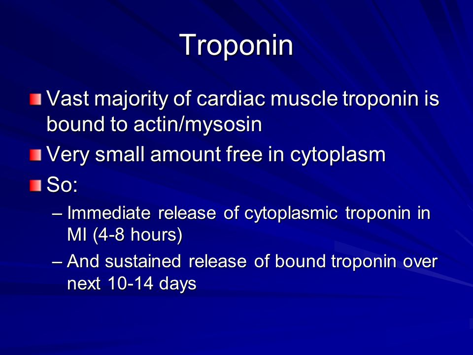 Troponin Vast majority of cardiac muscle troponin is bound to actin/mysosin. Very small amount free in cytoplasm.