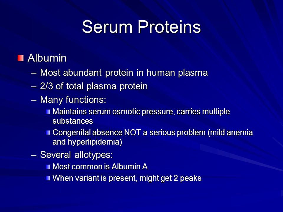 Serum Proteins Albumin Most abundant protein in human plasma