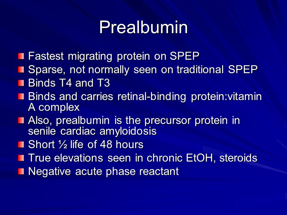 Prealbumin Fastest migrating protein on SPEP