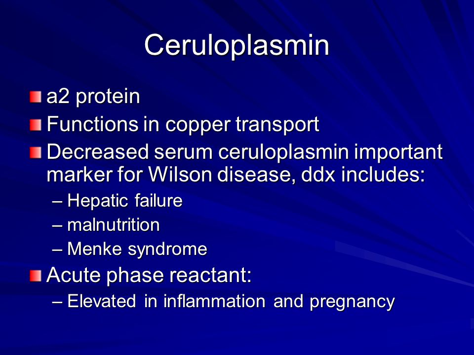 Ceruloplasmin a2 protein Functions in copper transport