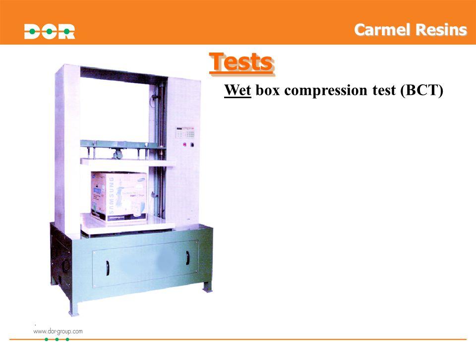 Carmel Resins Tests Wet box compression test (BCT) 14