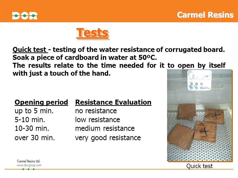 Tests Carmel Resins up to 5 min. no resistance