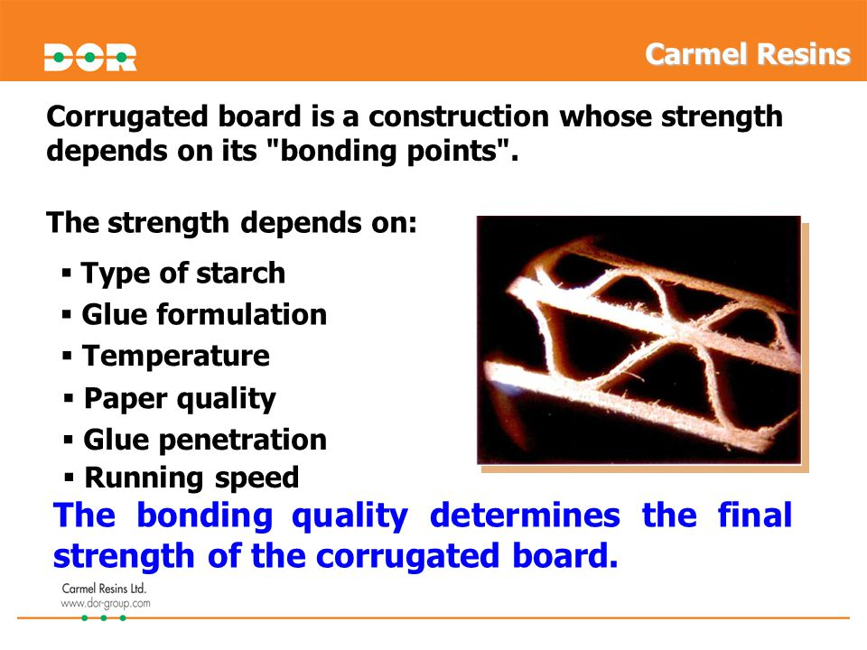 Carmel Resins Corrugated board is a construction whose strength depends on its bonding points . The strength depends on:
