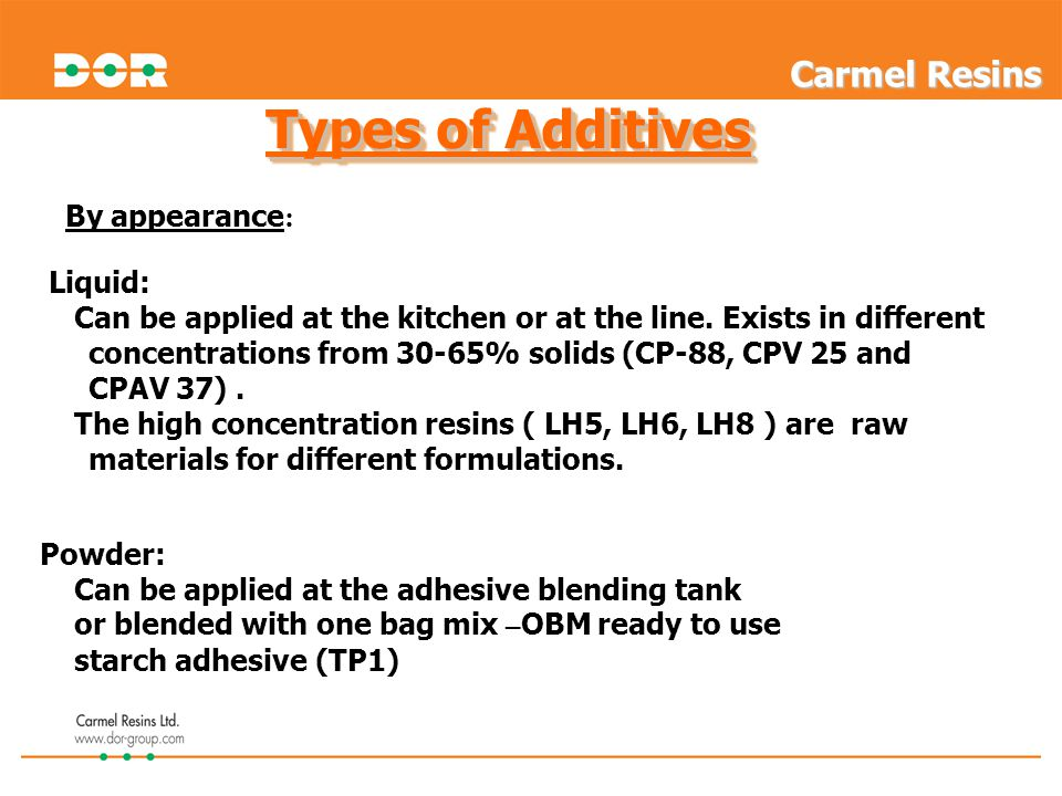 Types of Additives Carmel Resins By appearance: Liquid: