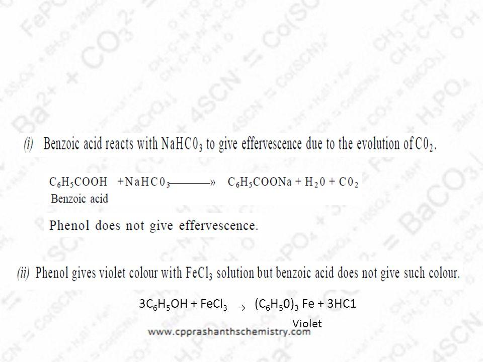 3C6H5OH + FeCl3 → (C6H50)3 Fe + 3HC1 Violet