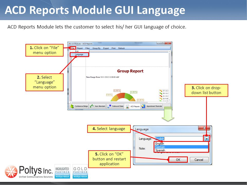 ACD Reports Module GUI Language