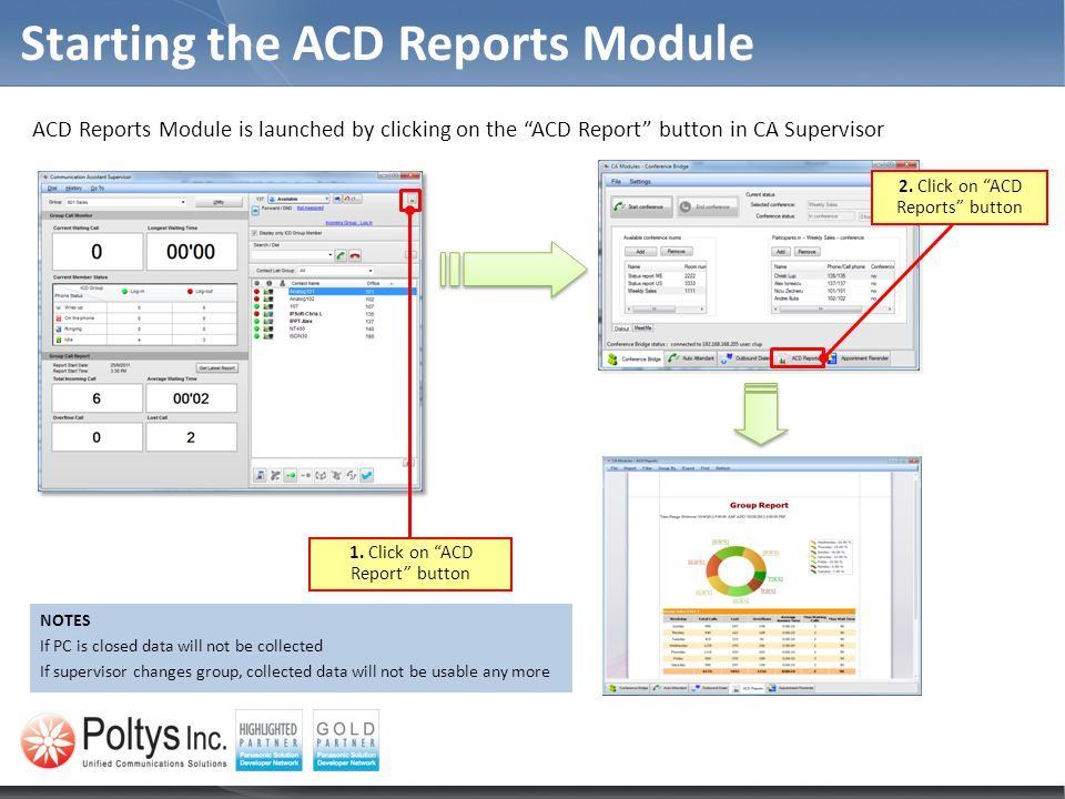 Starting the ACD Reports Module