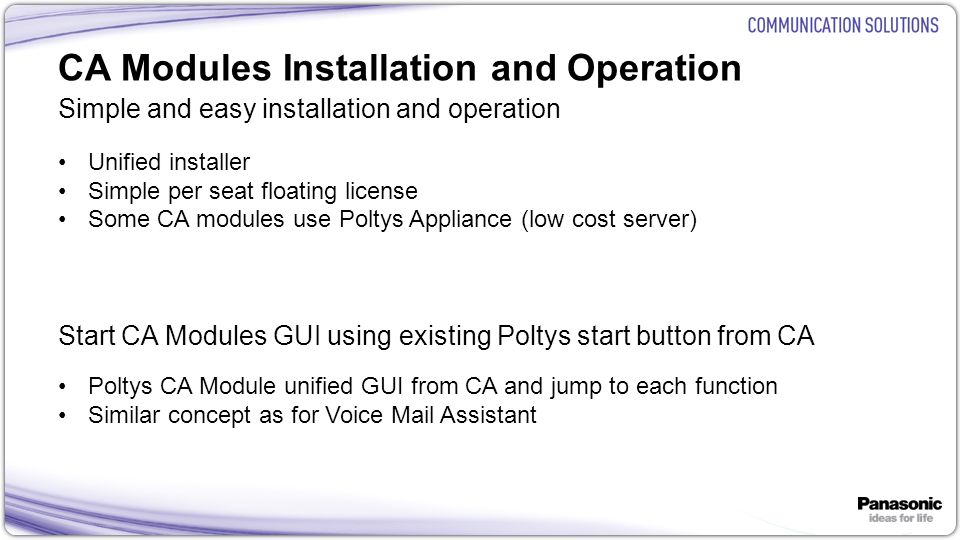 CA Modules Installation and Operation