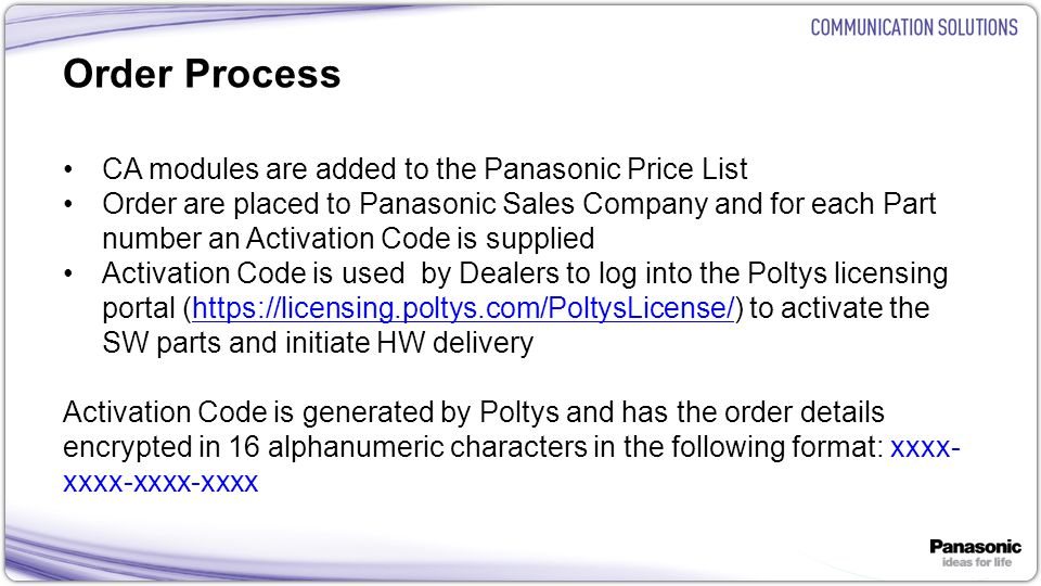 Order Process CA modules are added to the Panasonic Price List