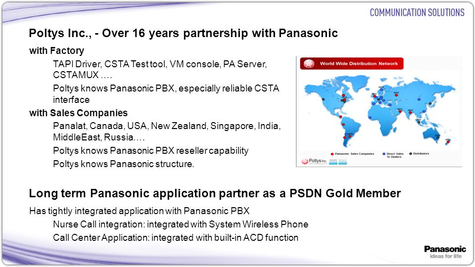 Poltys Inc., - Over 16 years partnership with Panasonic