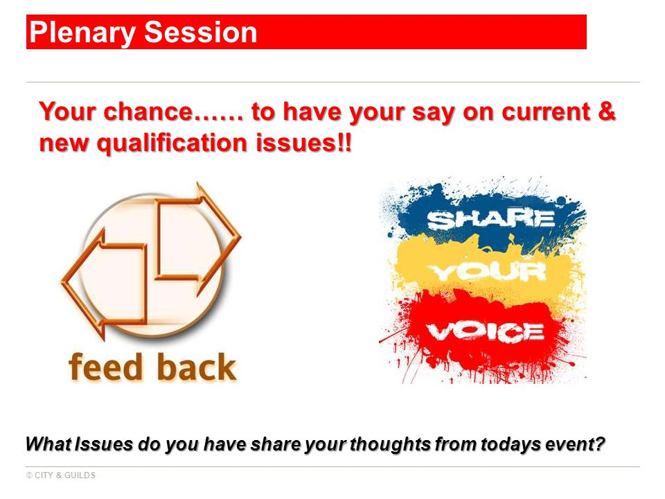 Plenary Session Your chance…… to have your say on current & new qualification issues!!