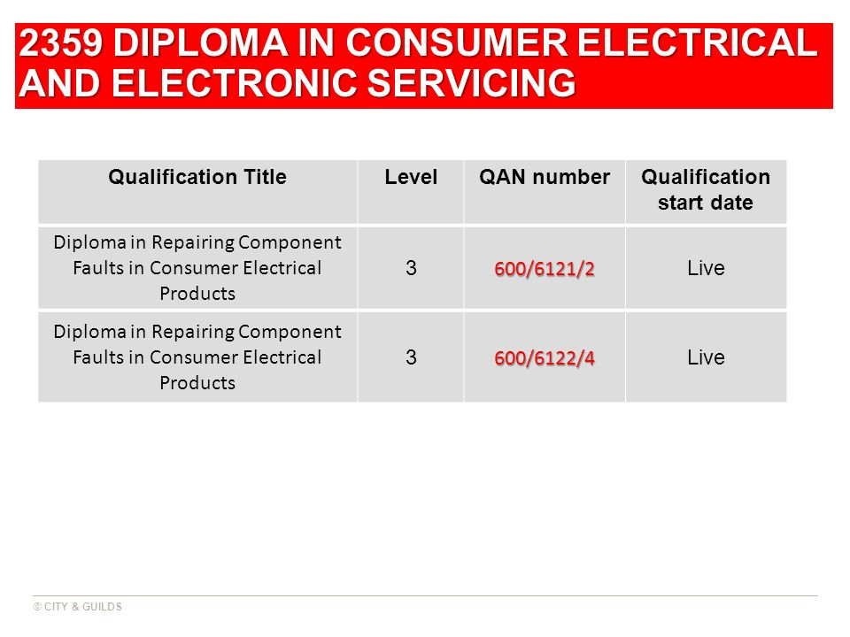 2359 DIPLOMA IN CONSUMER ELECTRICAL AND ELECTRONIC SERVICING