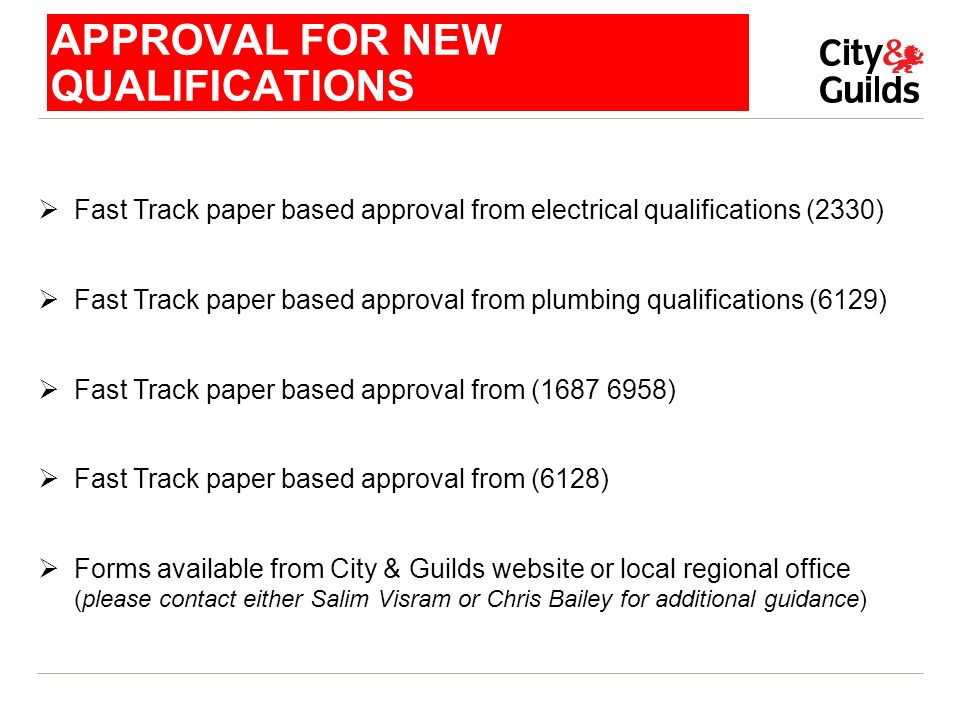 APPROVAL FOR NEW QUALIFICATIONS