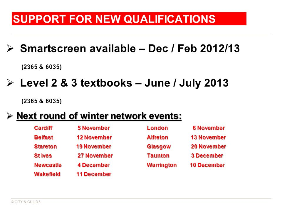 SUPPORT FOR NEW QUALIFICATIONS