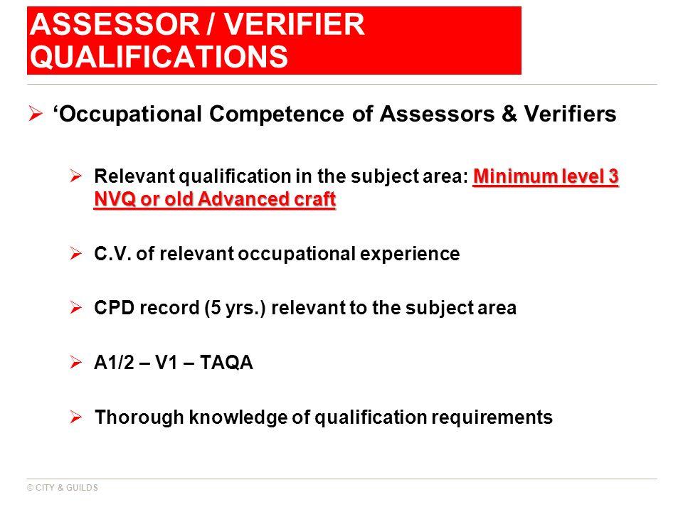 Assessor / Verifier Qualifications