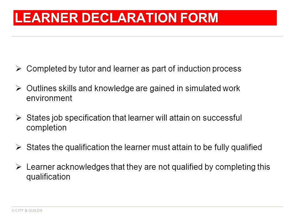 LEARNER DECLARATION FORM