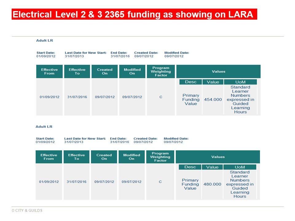 Electrical Level 2 & 3 2365 funding as showing on LARA