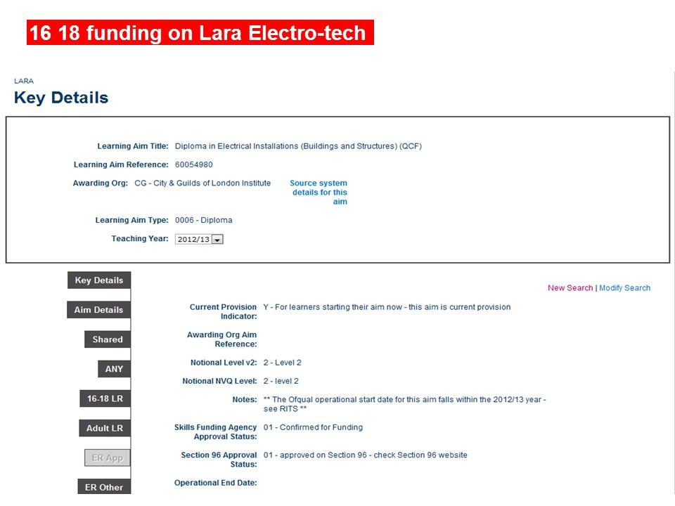 16 18 funding on Lara Electro-tech