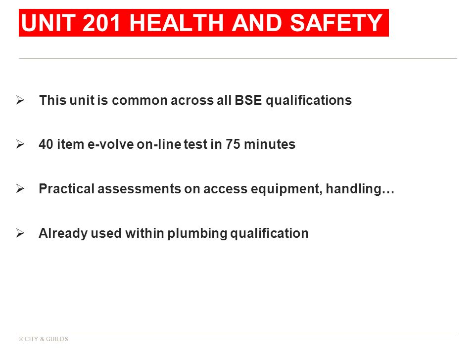 UNIT 201 HEALTH AND SAFETY This unit is common across all BSE qualifications. 40 item e-volve on-line test in 75 minutes.